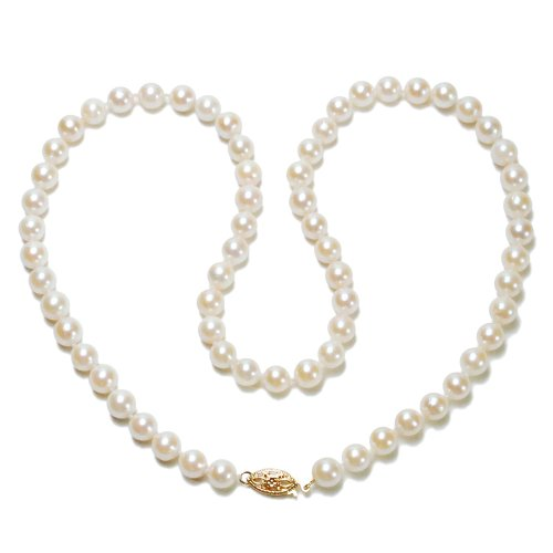 """14k Yellow Gold 6-6.5mm A-Grade Akoya Cultured Pearl Necklace, 18"""""""