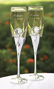 Hortense B. Hewitt Wedding Accessories Bling Hearts Champagne Toasting Flutes, Set of 2