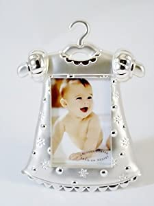 Silver Plated Two Tone Photo Frame - Baby Girl Dress Design