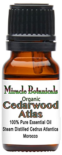 Miracle Botanicals Organic Cedarwood Atlas Essential Oil - 100% Pure Cedrus Atlantica - Therapeutic Grade - 10ml