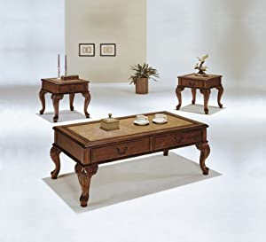 Lovely Acme Piece Trudeau CoffeeEnd Table Set Cherry Coffee Table Set