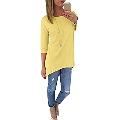 Shouhengda Women Irregular Pullover T-shirts 3/4 Sleeve Loose Long Tops