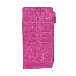 Buxton Womens Leather Thin Card Case Wallet, Fuchsia