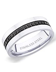 7 Mm Peora 316L Stainless Steel 2 Tone Men's Band Ring With Raised Square Black Grooves (PSR222)