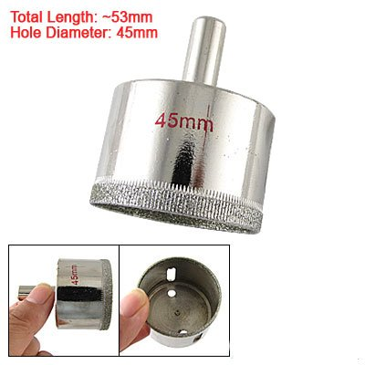 45mm Dia Silver Tone Glass Hole Saw Drilling Tool
