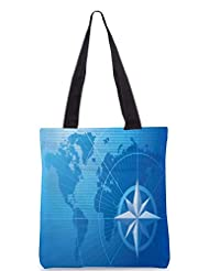 Snoogg Blue Compass Vector Background Designer Poly Canvas Tote Bag