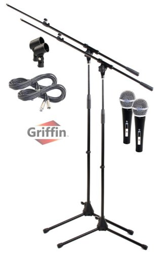 2 Pack Microphone Boom Arm Stand Holder Xlr Cable Cardioid Dynam Vocal Mic Clip Griffin