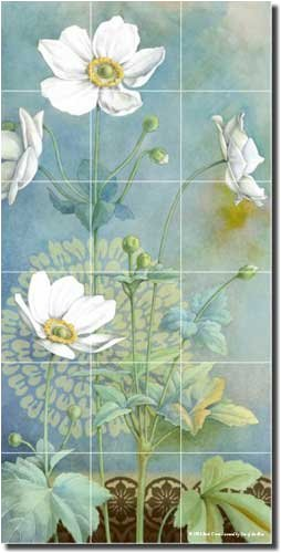 Anemone I by Beth Grove – Artwork On Tile Ceramic Mural 36″ x 18″ Kitchen Shower Backsplash