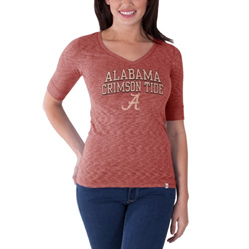 Ncaa Alabama Crimson Tide Women'S Roster V-Neck Tee, Lava Red, Small front-1062587