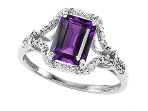 Tommaso Design 8X6Mm Emerald Cut Genuine Amethyst And Diamond Ring 10K Size 8