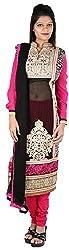 JYOTI Women's Georgette Unstiched salwar Suit (JBAM-26, Black & Rani)