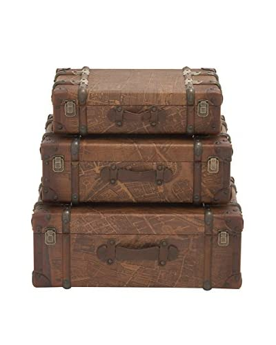 Set of 3 Faux Leather Cases, Brown