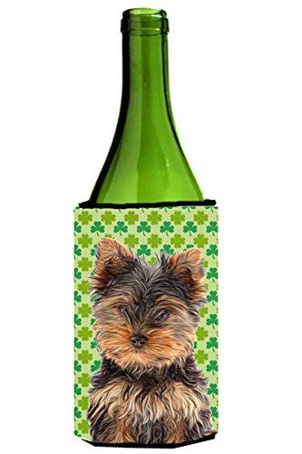 St. Patrick'S Day Shamrock Yorkie Puppy / Yorkshire Terrier Wine Bottle Koozie Hugger Kj1202Literk