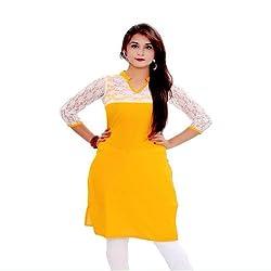 Pashimo Yellow Color Cotton Fabric Kurti For Women ( kurtis _ plain kurtis _ staright kurtis )