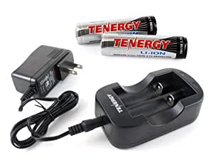 Tenergy 2-Channel 18650/14500 Li-ion Battery Charger and 2 Li-ion 18650 Cylindrical 3.7V 2600mAh Rechargeable Batteries-Button Top with PCB