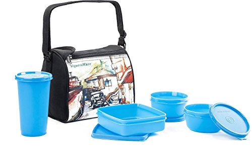 Signoraware Malgudi Plastic Lunch Box Set, 4 Pieces, Blue