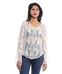 Avakasa Cotton White Embroidered Partywear Full Sleeves Top (top-35-white)