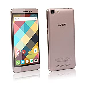 Cubot Rainbow Sim Free Smartphone Dual Sim 3G Unlocked 5 Inch HD Android 6.0 Quad Core 1.3 GHz 1 GB Ram 16GB Rom Smart Phone 13MP Camera GPS WIFI Hotspot Bluetooth OTG Mobile Phone(Gold)