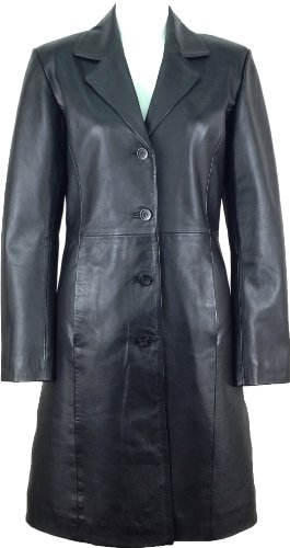 UNICORN Donne Autentico Vera Pelle Giacca Classico Stile Cappotto Lunghezza Lungo Nero #AK Dimensione 38 (12)