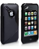 SHOP4PHONE®   Coque Housse Etui en Silicone S line Pour Iphone 3G et Iphone 3GS + 1 Film Protecteur Offert Noir Noire