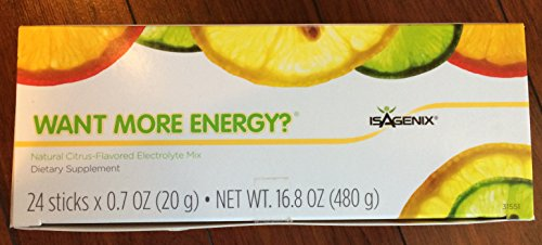 Isagenix Want More Energy Sticks (Electrolytes) 24 Sticks Citrus Flavor