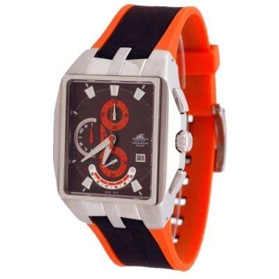 Adee Kaye Men's Motor Sport Chronograph Watch with Resin Band Model AK-4010-M5(Orange Accented Band)