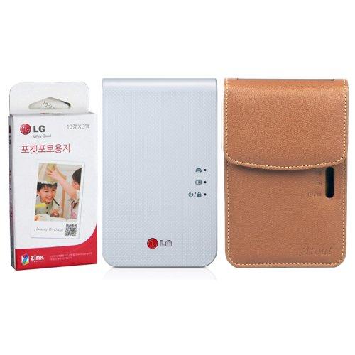 [SET] LG Pocket Photo 2 PD239 (White) Portable Printer + Zink 30 Sheet + (Brown) Atout Premium Synthetic Leather Vintage Cover Case