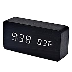 Sunward Newest Multi-function LED Temperature Sounds Control Electronic Desktop Digital Wooden Alarm Clock Time & Temp Display (White)