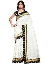 Sarvagny Clothings Self Design Off White Banarasi Silk Fashion Saree