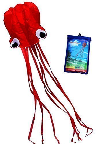 Hengda Kite-Beautiful Large Easy Flyer Kite for Kids - Red software octopus-It's BIG! 31 Inches Wide with Long Tail 157 Inches Long-Perfect for Beach or Park