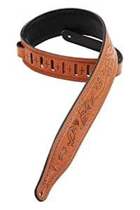 Levy's Leathers M17T03-TAN Carving Leather Tooled Guitar Strap,Tan
