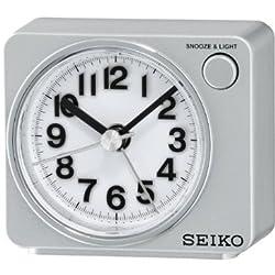 Seiko Alarm Clock (6.4 cm x 7.4 cm x 5.4 cm, Silver, QHE100SN)