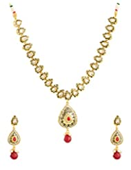 Voylla Traditional Gold Plated Necklace Set Decorated With Enamel Work, Shiny CZ And Red Color Stones