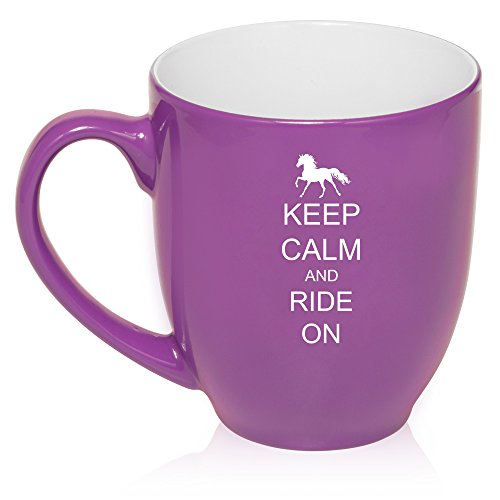 16 Oz Purple Large Bistro Mug Ceramic Coffee Tea Glass Cup Keep Calm And Ride On Horse