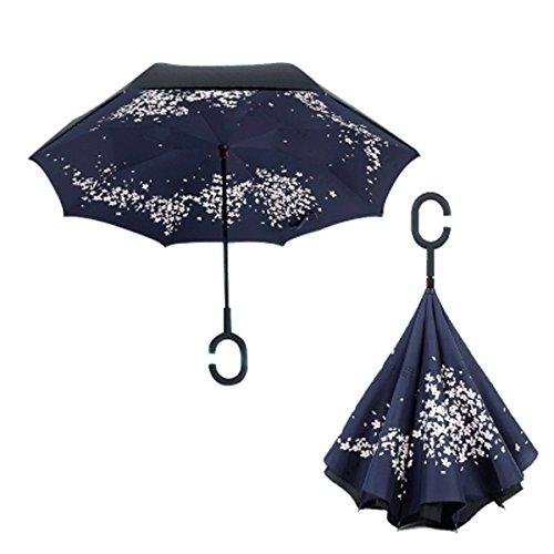 RAIN QUEEN Parapluie Canne Ouverture Inversé Double Toile Imprimé +C Poignée Grand Taille Dimension 110cm pour 2 personnes (Blanc Fleur)