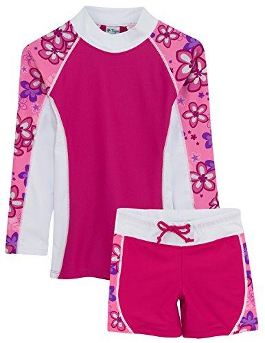 Tuga-Girls-UPF-50-Shoreline-LS-Rash-Guard-and-Swim-Short-UV-Sun-Protective