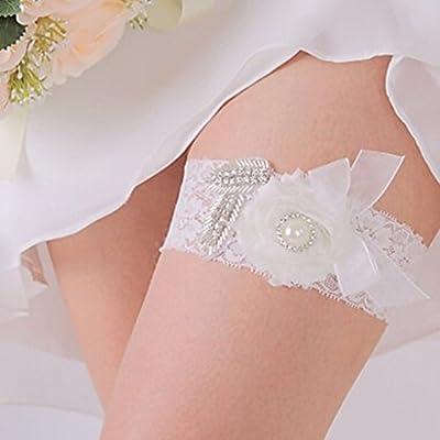 Charmant Blume elastisch Strass Spitze Braut Hochzeit Abschlussball Strumpfband Weiß