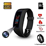 Mini Spy Camera Bracelet, Touchscreen 1080P Hidden Camera Wristband, Invisible Lens Hole Spy Cam SmartWatch, Security Surveillance DV Activity Tracker with Bluetooth 4.0-32GB (Color: Black, Tamaño: 32GB with Band)