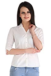 Zaire Women's Elegant Solid Color 3/4 Sleeves Cotton Shirt (001-3/4TH,White,S)