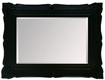HUGE Black Shabby Chic Decorative Framed Wall Mirror 50inch x 40inch (127cm x 102cm) Stunning Quality - Ready to Hang - ITV Show Supplier