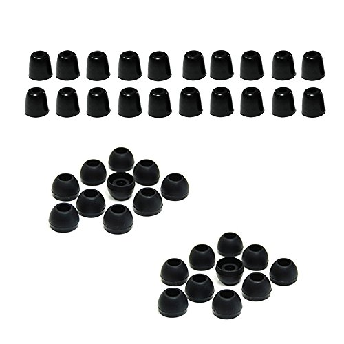 Bluecell 10 Pairs Medium Black Color Silicone Replacement Ear Buds & Memory Foam Tips Eartips For In-Ear Earphones