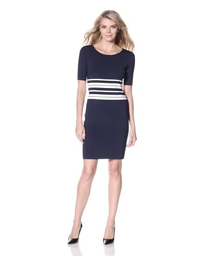 Pink Tartan Women's Stripe Dress  - Navy/White