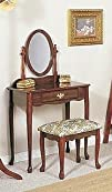 Traditional Cherry Finish Wood Vanity Table Mirror   StoolBench