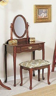 Traditional Cherry Finish Wood Vanity Table, Mirror & Stool/Bench Set