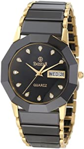 Swistar Men's 44226-M Bk Swiss Quartz Scratch Resistant Ceramic And Yellow Gold Plated Stainless Steel Dress Watch