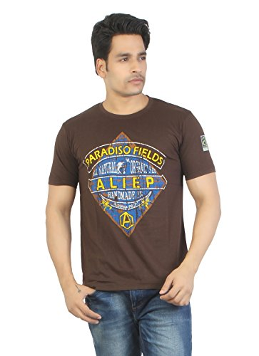 Aliep Aliep Stylish Brown Printed Half Sleeves T-Shirt For Men | ALP1638 (Multicolor)