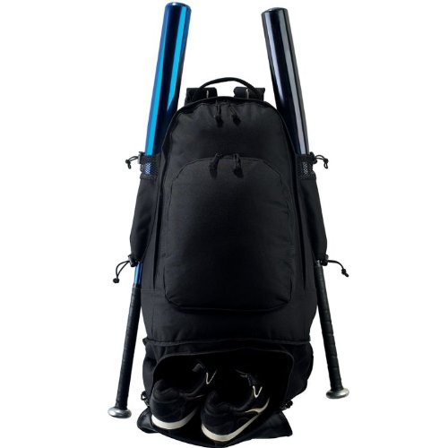 baseball-softball-travel-backpack-gear-bag-cleat-compartment-2-bats-metal-fence-hook-by-authentic-sp