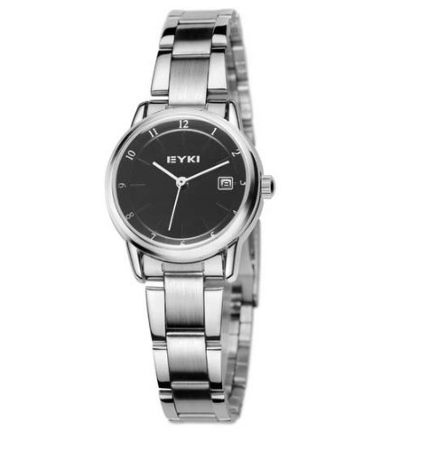Ufingo-Classic Nice Casual Calendar Stainless Steel Watch For Women/Ladies/Girls-Silver Case Black Dial