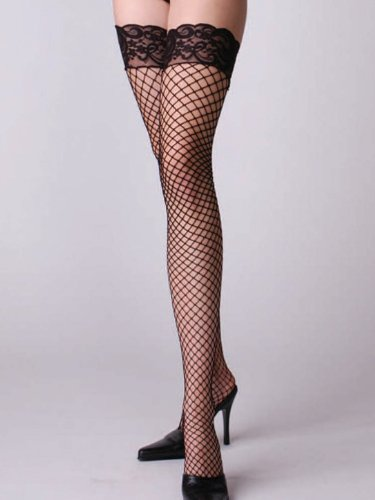 Diamond Net Thigh High Stocking Lace Tops Hosiery SeXy White Red or Black