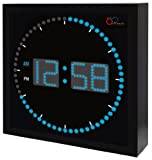 "DBTech Time Sphere - Stylish Big Digital LED Clock with Circling LED second indicator - Square Shape (16"" / Blue LED)"